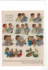 VINTAGE US BREWERS FOUNDATIONS FISHERMEN CELEBRATE CATCH WITH BEER AD PRINT J3