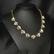 Cleared Glass Somervell Statement Necklace Faceted Triangular Crystal Gold Chain