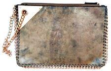 NEW LOOK Ladies VTG 90's ANTIQUE GOLD METALLIC CHAIN CLUTCH Handbag Bag Purse BN