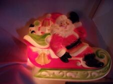 Lighted Santa Claus Sleigh Plastic Blow Mold by Empire vintage Christmas   T*