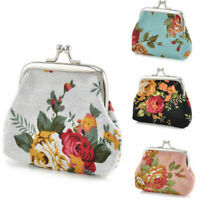 Women Retro Small Wallet Bags Flower Coin Change Purse Canvas Hasp Clutch Wallet
