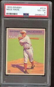1933 Goudey George Mule Hass Haas #219 Chicago White Sox PSA 4 SET BREAK TOUGH !