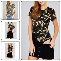 WOMEN MILITARY COTTON SPANDEX  CAMO CAMOUFLAGE SHORT SLEEVE BODYSUIT TOP T-Shirt