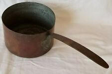 """Large Heavy Antique Primitive Dovetail Tinned 8.5"""" Copper Pot Hand Forged Handle"""