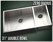"31"" Double Bowl Undermount 16 Gauge 304 Stainless Steel Kitchen Sink Zero Radius"