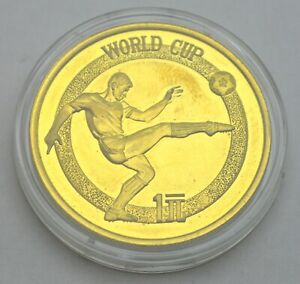 CHINA 1 YUAN 1982 FIFA WORLD CUP FOOTBALL BRASS COIN PROOF