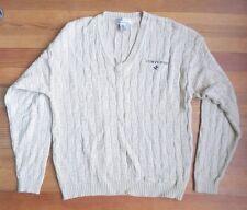 Converse Cotton Sweater V Neck Men Size M Cable Knit Natural Color
