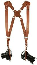 Coiro Leather Dual Camera Harness Adjustable Shoulder Strap Light Brown SLR/DSLR