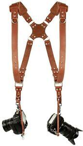 Coiro Leather Dual Camera Harness Adjustable Shoulder Strap Light Brown SLR/DSLR