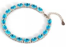 "Rhodium Plated Sterling Silver Simulated Blue/White Diamond Bracelet 7-8"" + Box"