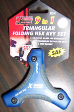 NEW Allen Hex KEY Wrench set SAE all-in-one tool w/9 triangular handle folding