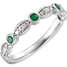 Genuine Emerald Gemstones & 1/6 ctw Diamonds in 14K. White Gold Anniversary Ring