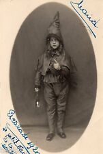 BL039 Carte Photo vintage card RPPC Enfant déguisement lanterne escalade lutin