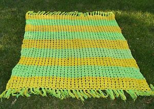 Handmade Vintage Green and Yellow Crocheted Afghan Throw
