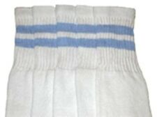 "25"" KNEE HIGH WHITE tube socks with BABY BLUE stripes style 2 (25-53)"