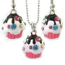 Chocolate Colorful Multicolor Pink Cupcake Necklace Chain Dangle Earring Pendant