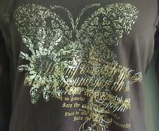 Gitano Women's Hoodie~ Brown, Light Weight, Vneck, Shiny Gold Butterfly~ Size L