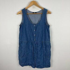 Uniqlo Womens Romper Size M Blue Sleeveless Denim Scoop Neck Button 75.32