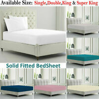 Deep Fitted Sheet Single Double Super King Poly Cotton Mattress Bed Sheets
