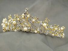 Austrian Crystal Rhinestone Pearl Tiara Crown Bridal Party Pageant 00273 Gold