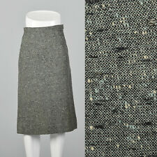 XXS 1950s Tweed Pencil Skirt Green Side Zip VTG Slubbed Fabric Knee Length