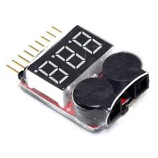 RC Lipo Battery Low Voltage Alarm 1S8S Buzzer Indicator LED Checker Tester Y6E0