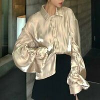 Lady Loose Silky Shirt Top Fancy Puff Long Sleeve Baggy Shiny Blouse Casual Soft