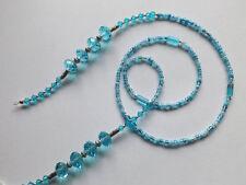 Gafas de cuentas de cristal de vidrio azul de cielo soporte para cadenas gafas titular hecho a mano