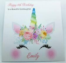 Personalised Birthday Card Unicorn Handmade Daughter Granddaughter Goddaughter