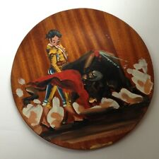 Antique SPAIN Original Oil Painting Bullfight Bull Matador Spain Wall Wood Plate