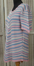 Hand-Crocheted Knitted Jumper 39″ Pink Blue Maternity Wear Mother-to-Be Knitwear