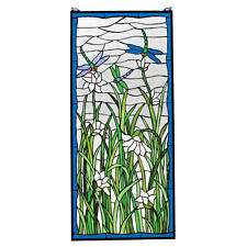 "40"" Summer Scene Dragonflies in Field Hand Crafted Stained Glass Window Panel"