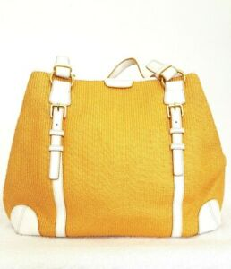 ANNA TOSANI Ladies Designer Large Yellow/White Canvas/Leather Shoulder Bag NWT