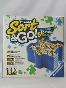 Puzzle Sort & Go 6 Stackable Sorting Trays Puzzles Up To 1000 Pieces Jigsaw (av)