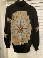 Vintage Semplice Womens Sweater 1990s Size Large Holiday Jeweled Black Gold Sun