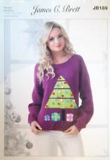 "James Brett Christmas DK Knitting pattern Ladies Jumper  28/30"" - 44/46"" JB189"