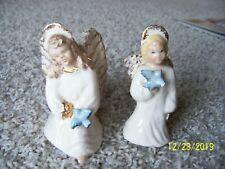 2 Beautiful Vintage Girl Angel with Bluebird Christmas Figurines