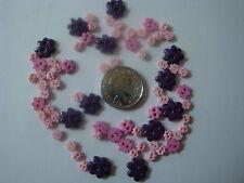 TRIMITS  TINY MINI FLOWER CRAFT/DOLL BUTTONS 3 sizes - Pink/Purple (11)