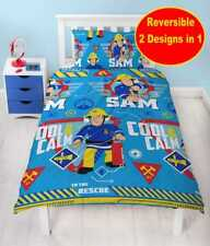 NEW FIREMAN SAM SINGLE DUVET QUILT COVER SET BOYS GIRLS KIDS CHILDREN BLUE BED