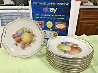 """Lot of 9 SCHUMANN Fruit Pattern Plate Reticulated Scalloped Gold Edged 8""""Germany"""