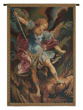 19x12inch Italian Woven Tapestry Wall Hanging St Michael