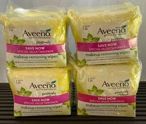 Aveeno Positively Radiant Makeup Removing Wipes Twin Pack( 2-25 Ct) - Lot of 4