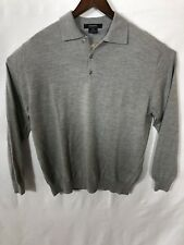 Giorgiolini Mens XL Long Sleeve Polo 100% Wool Made In Italy Gray
