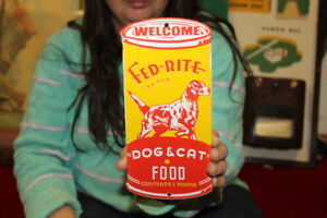 Welcome Fed-Rite Dog & Cat Food Pet Feed Farm Gas Oil Porcelain Metal Sign