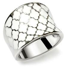 MJS - STAINLESS STEEL WHITE ENAMEL CLOVER FASHION STATEMENT RING SIZE 5