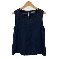 Jacqui E Womens Top Size 14 Navy Blue Sleeveless Gorgeous Tank Top