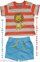 New Baby Boys Marks & Spencer Blue Shorts Orange Top 6-9 3-6 0-3 Months