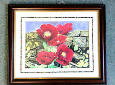 Authentic water colour print of poppies circa 1997.lovely frame/mount 23x19""