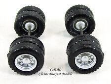 (2) Budd Rear Wheel Sets Silver w/Tires & Axles 1/87 Ho Promotex 54842-2