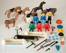 VINTAGE 1970's PLAYMOBIL GEOBRA MIXED LOT #1 FIGURES-HORSES-CANOES +++